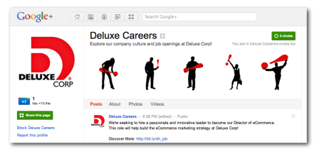 Deluxe Careers Google+ Page